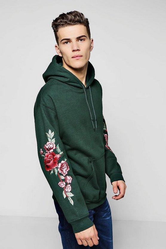 Floral Embroidered Over The Head Hoodie