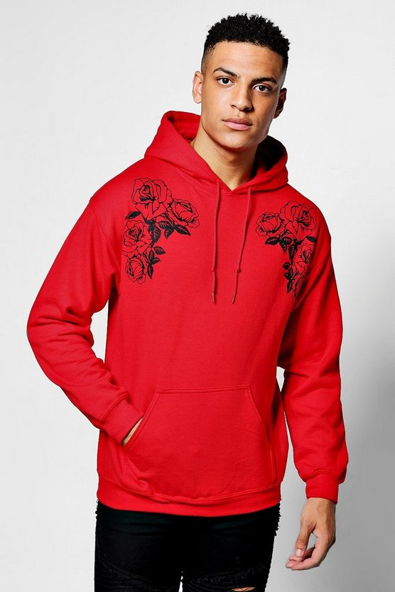 Twin Floral Print Over The Head Hoodie
