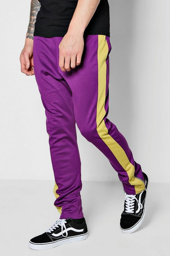 TYGA Skinny Fit  Panel Joggers With Zip