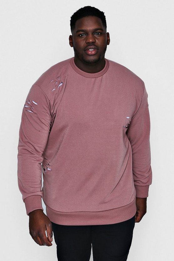 Big And Tall Crew Neck Distressed Sweater