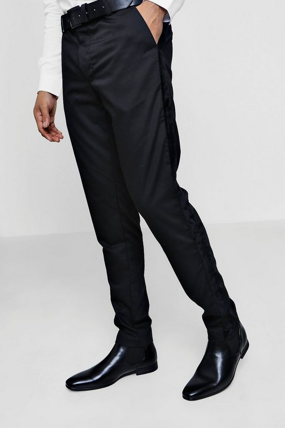 Premium Skinny Fit Black Trouser with Velour Taping
