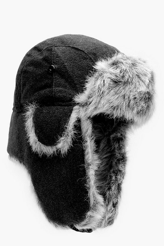 Black Fur Lined Fleece Trapper