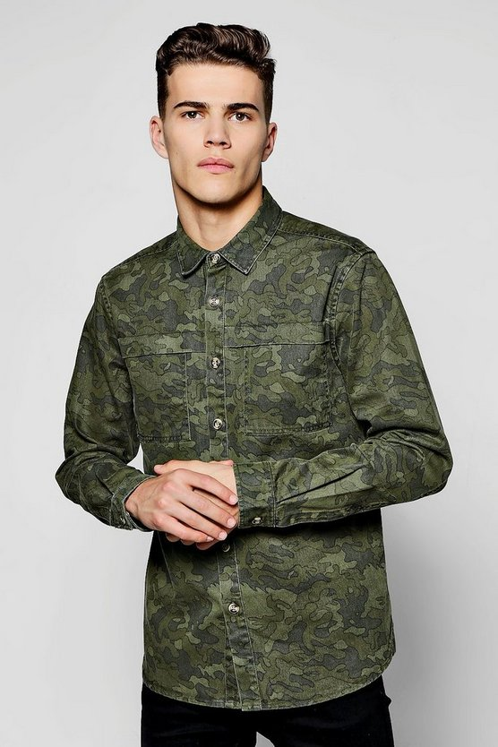 Camo Long Sleeve Overshirt