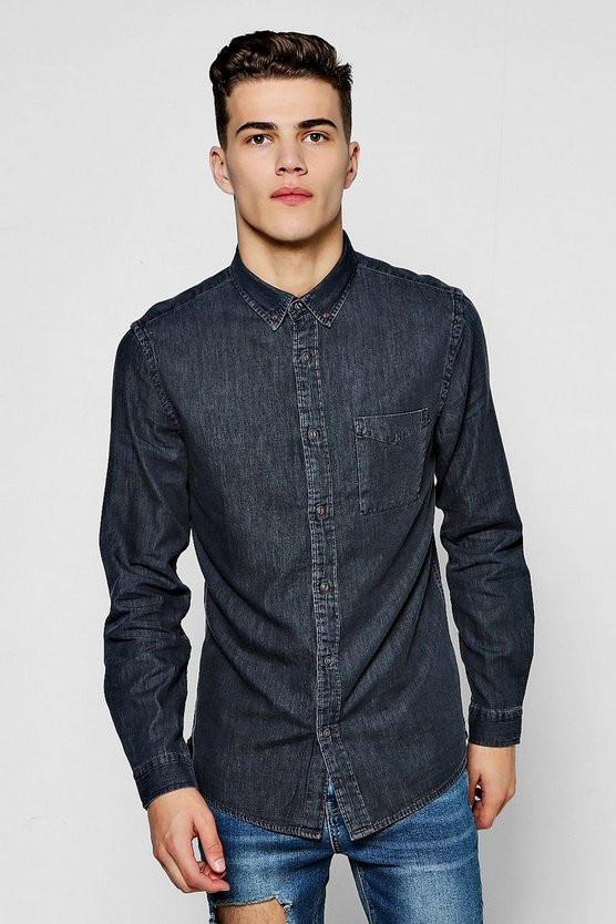 Washed Black Denim Long Sleeve Shirt