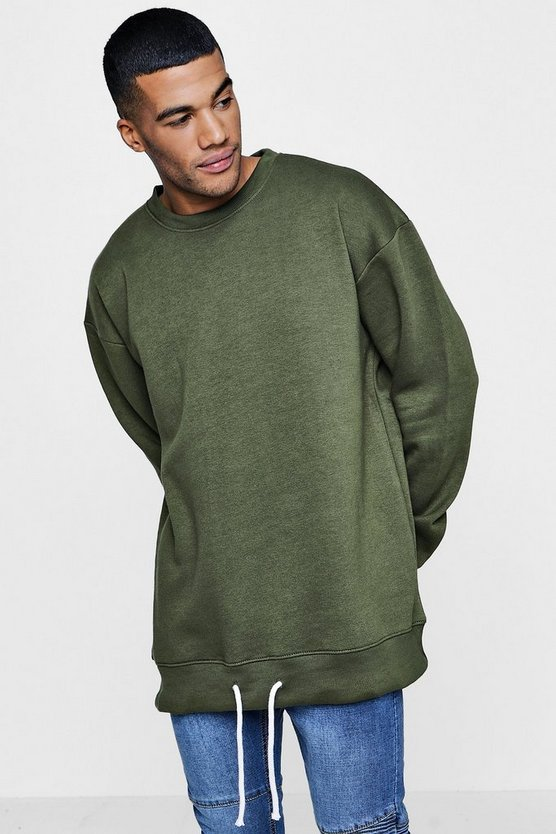 Oversized Sweater with Elongated Drawcord