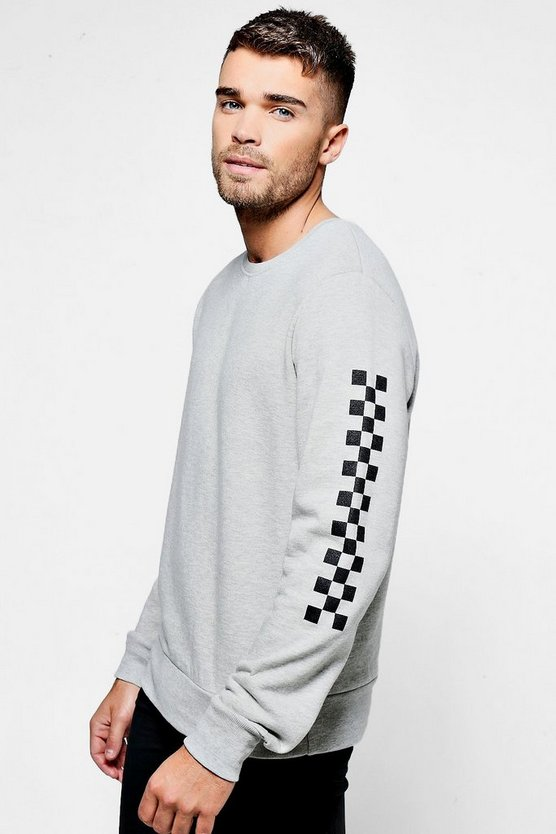 Crew Neck Sweaterwith Check board