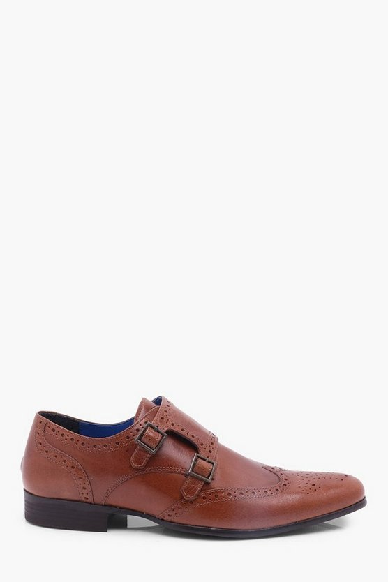 Tan Leather Brogue with Monk Strap