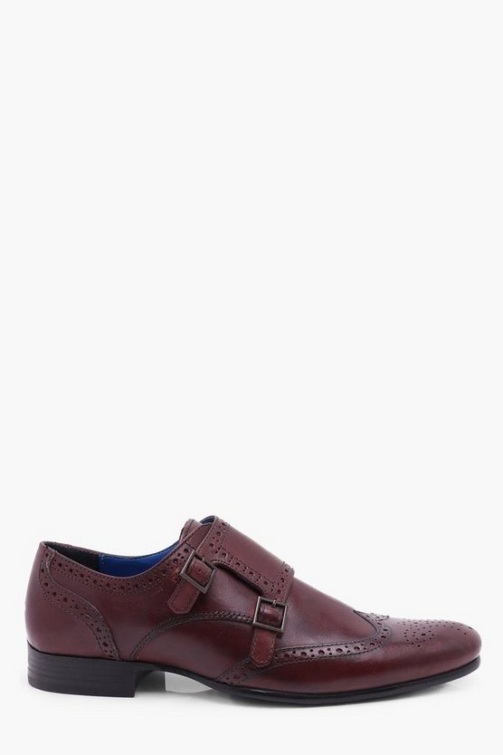 Burgundy Leather Brogue with Monk Strap
