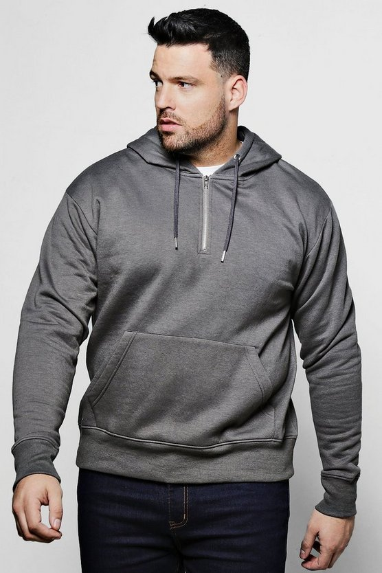 Big And Tall Half Zip Over The Head Hoodie