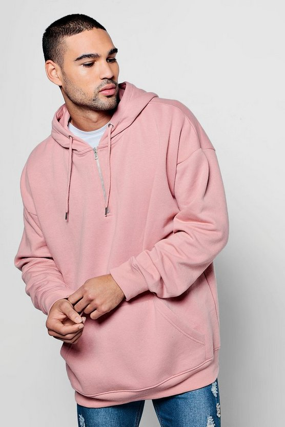 Half Zip Oversized Over The Head Hoodie