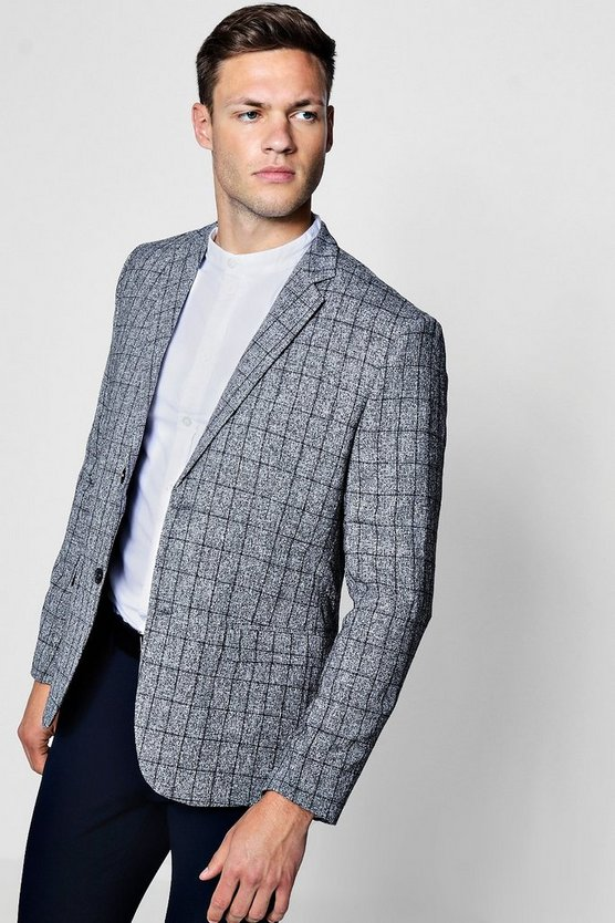 Skinny Fit Textured Double Breasted Jacket