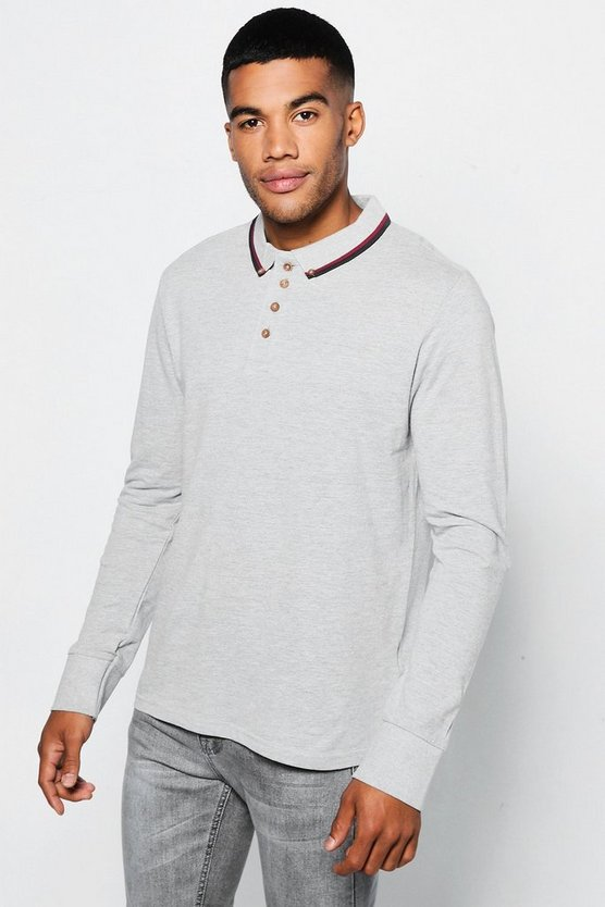 Long Sleeve Pique Polo With Pipping