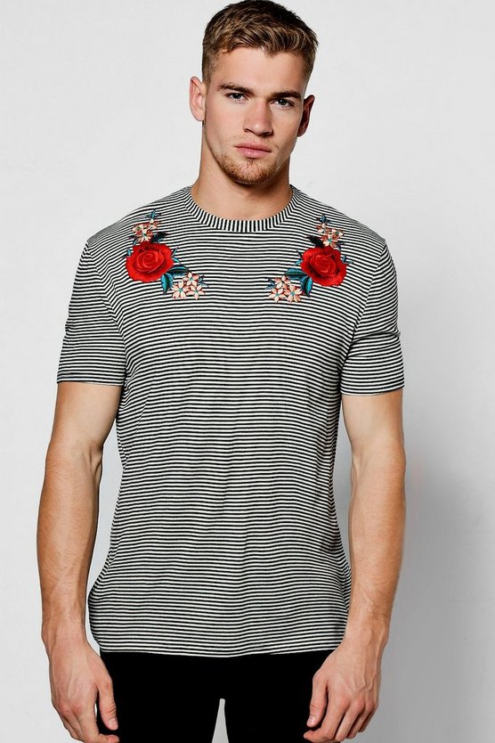 Stripe T-Shirt With Embroidery Yoke
