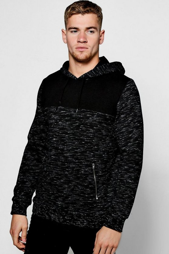 Space Dye Colour Block Hoodie With Zip Pockets