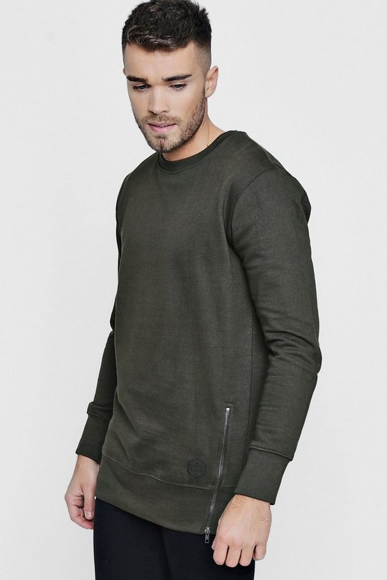 Longline Sweater With Zip Detail