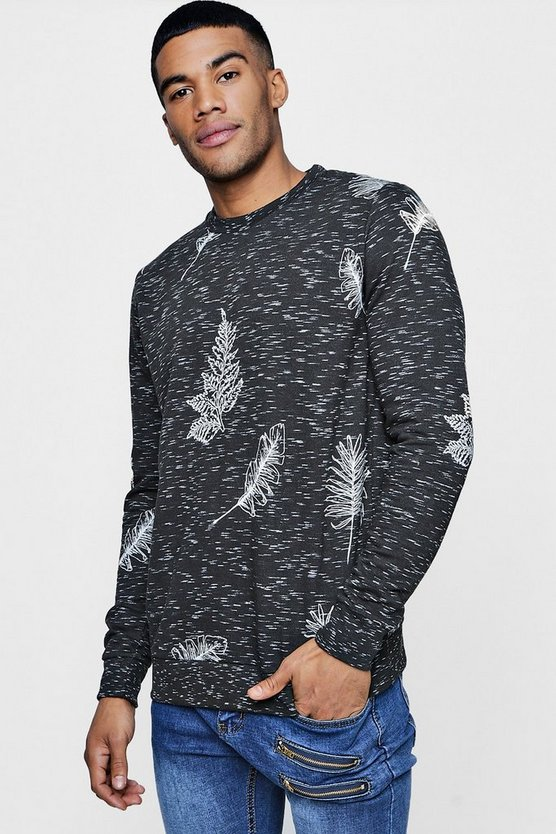 Space Dye Sweater With Leaf Print