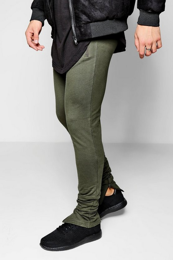 Skinny Fit Khaki Jogger With Zip Hem