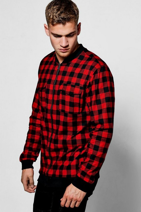Long Sleeve Check Zip Shacket With Pockets