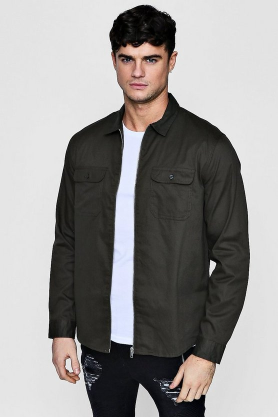 Long Sleeve Double Pocket Zip Shacket