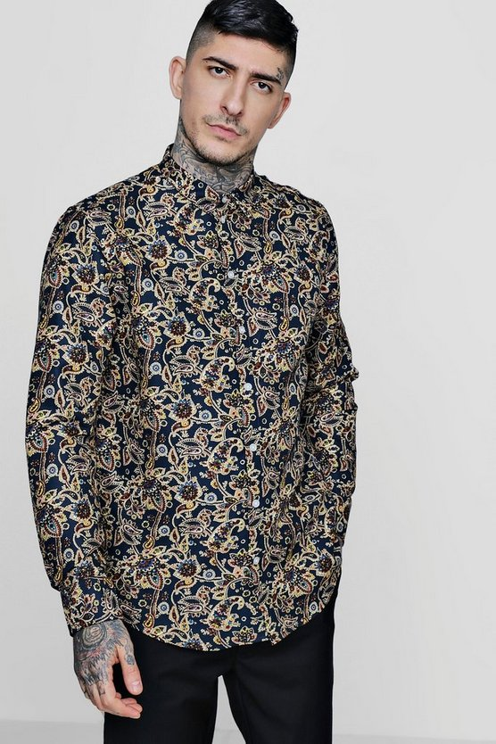 Abstract Floral Long Sleeve Shirt