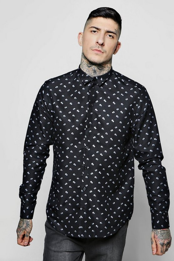 Circle Print Long Sleeve Shirt
