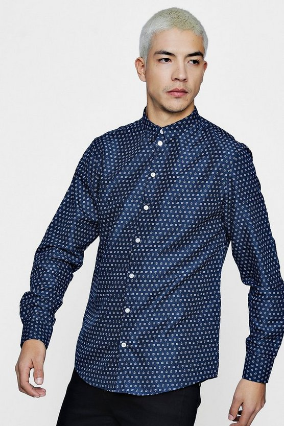 All Over Geo Print Long Sleeve Shirt