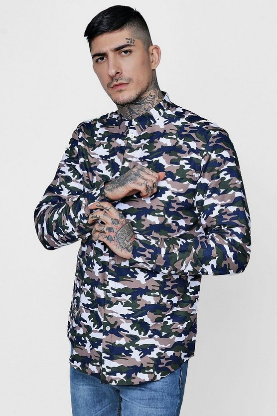 Camo Print Long Sleeve Shirt