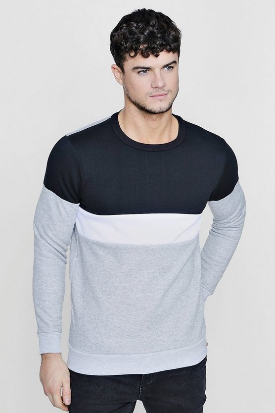 Colour Block Panelled Crew Neck Sweater