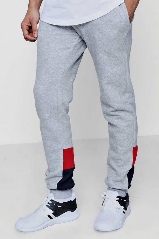 Colour Block Panelled Slim Fit Joggers
