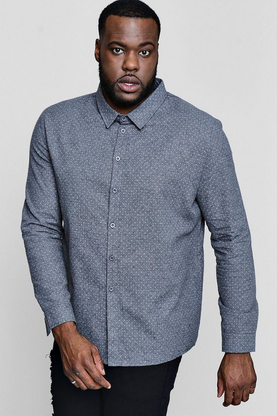 Big And Tall Polka Dot Long Sleeve Shirt