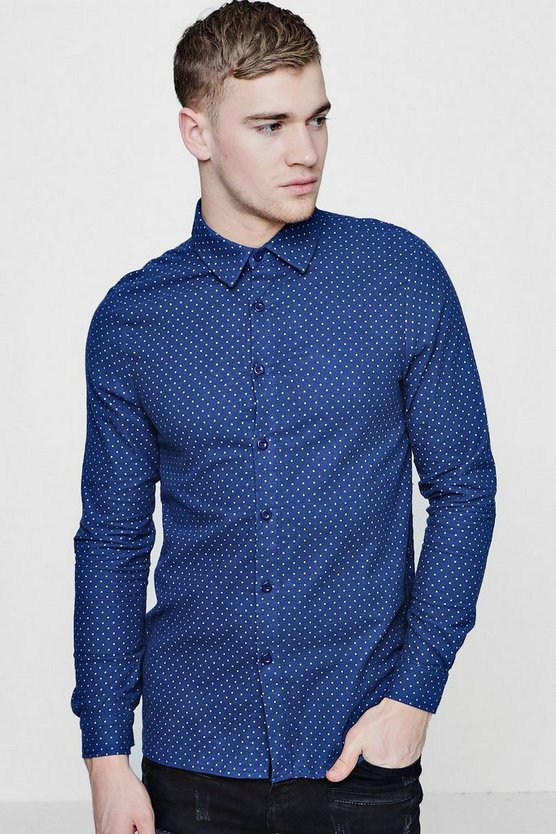 Long Sleeve Wool Touch Polka Dot Shirt