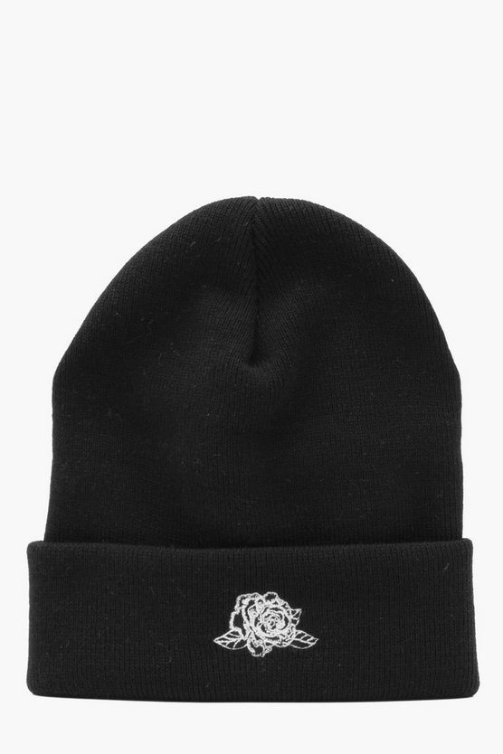 Rose Embroidered Beanie