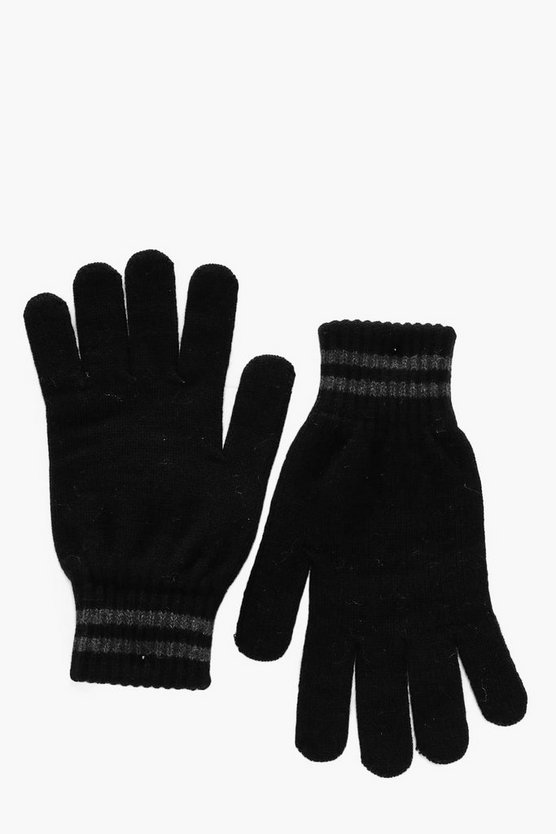 Knitted Gloves With Stripe