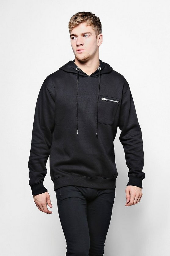 Zip Pocket Detail Over The Head Hoodie