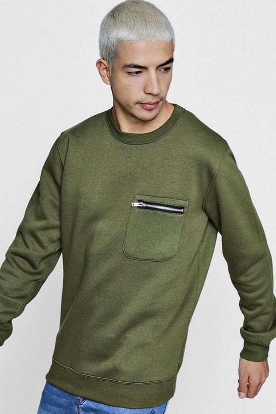 Zip Pocket Crew Neck Sweater