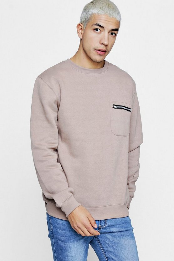 Zip Pocket Detail Crew Neck Sweater