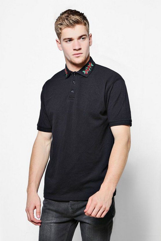 Floral Collar Embroidered Polo