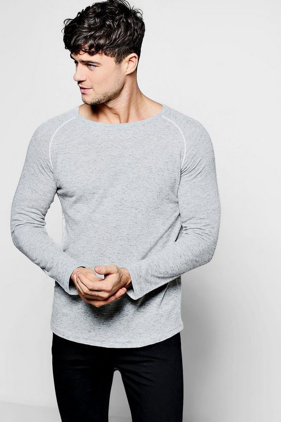 Long Sleeve Muscle Fit Knitted T-Shirt With Piping