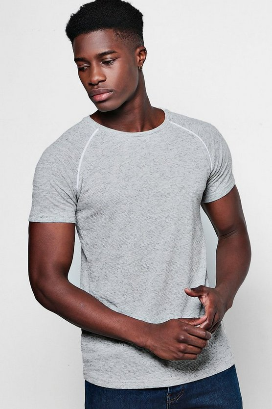 Muscle Fit Knitted T-Shirt With Piping