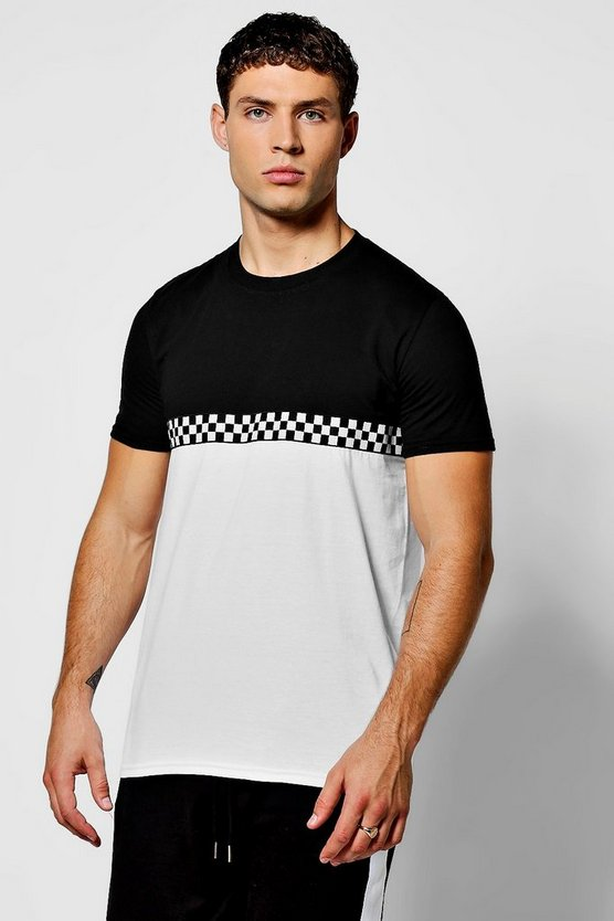 Colour Block T-Shirt With Checkboard Tape