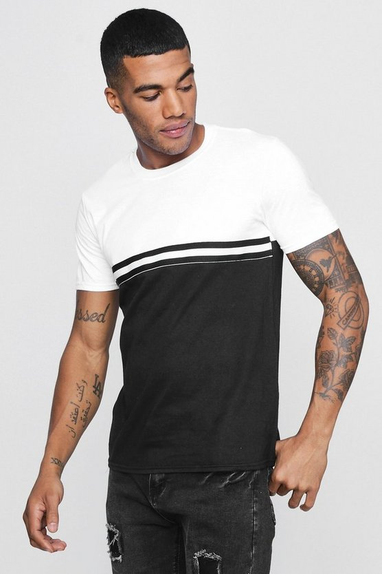 Colour Block T-Shirt With Sports Tape