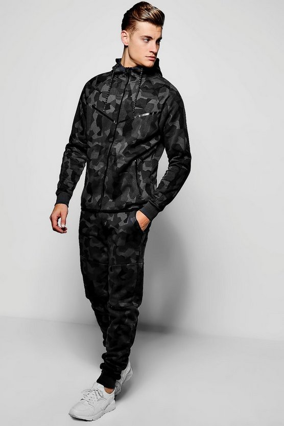 Skinny Fit Camo Hooded Tracksuit by Boohoo