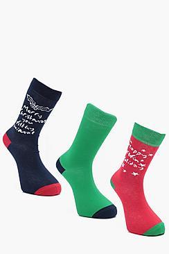 3 Pack Christmas Slogan Socks