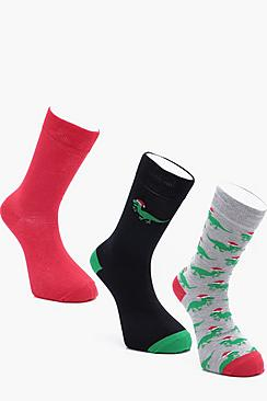 3 Pack Dinosaur Christmas Socks