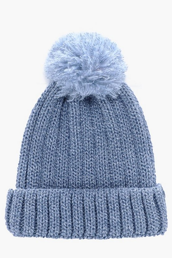 Ribbed Pom Pom Bobble Beanie