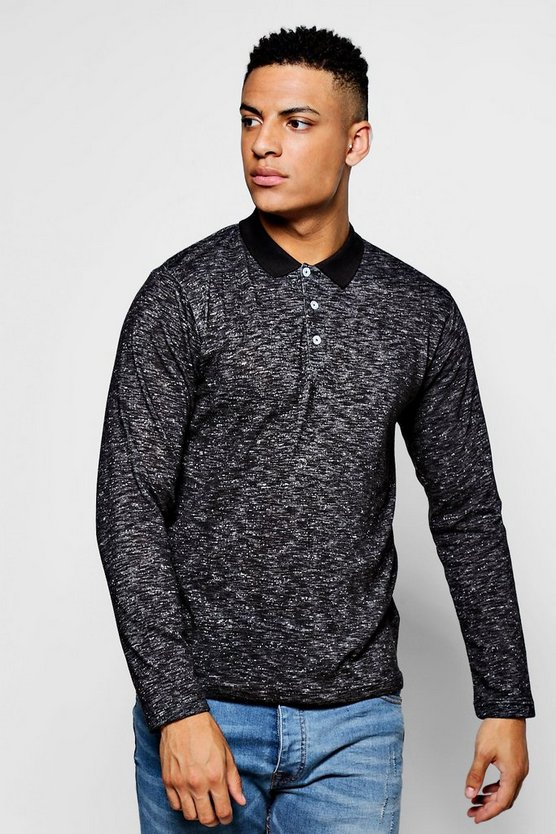 Long Sleeve Space Dye Polo