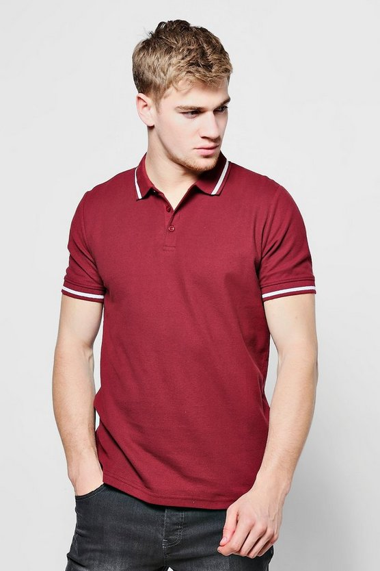 Slim Fit Pique Polo With Tipping