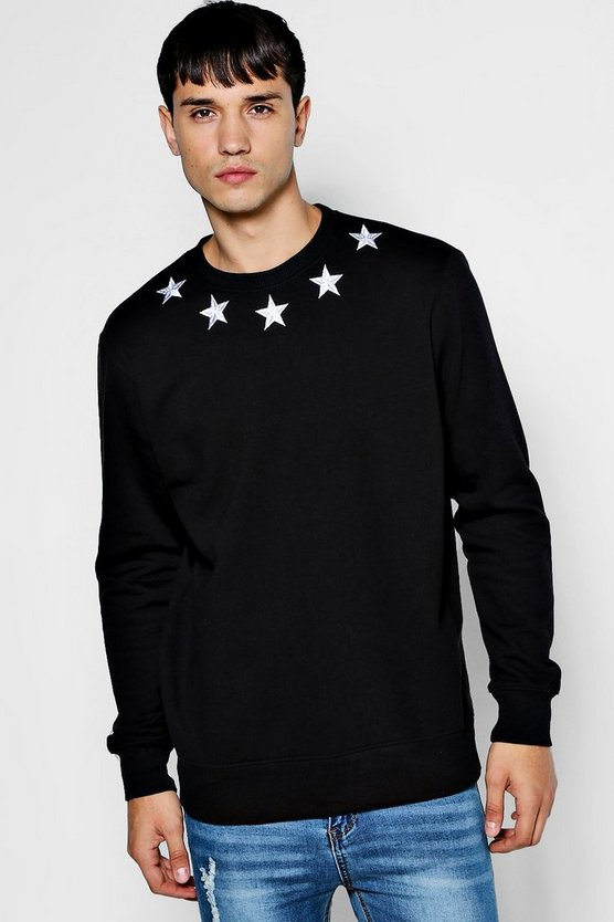 Star Embroidered Sweater by Boohoo