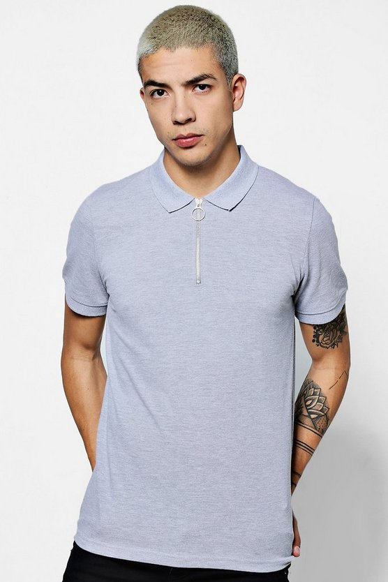 Short Sleeve Zipped Collar Pique Polo