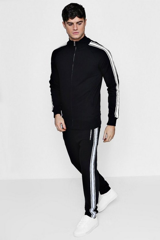 Sports Stripe Zip Through Tracksuit